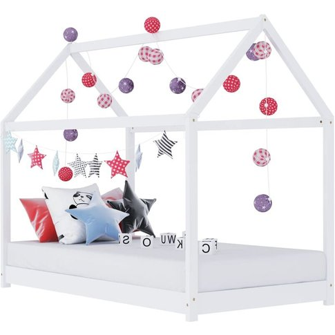 Kids Bed Frame White Solid Pine Wood 80x160 Cm - You...