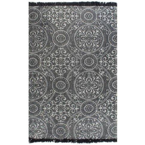 Kilim Rug Cotton 160x230 Cm With Pattern Grey - Vidaxl