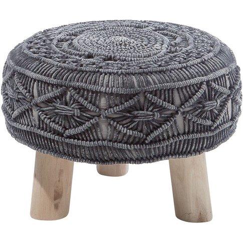 Knitted Stool Black Mundra - Beliani