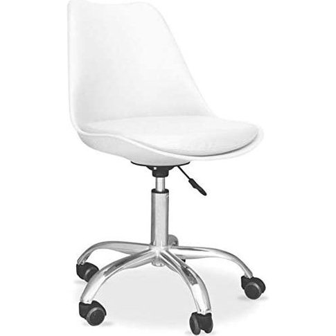 Kosy Koala Cushioned Computer Pc Desk Office Chair Adjustable Lift Swivel Padded Seat Chrome Legs White Tulip Office Chairs (White)