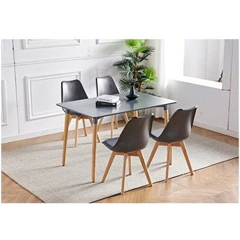 Dark Grey Wood Dining Table And 4 Grey Chairs Set Re...