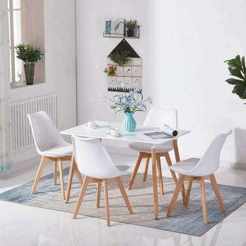 White Wood Dining Table And 4 White Chairs Set Retro...