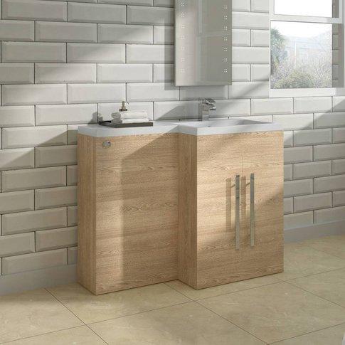 Light Oak Right Hand Bathroom Cabinet Furniture Combination Vanity Unit Set (No Toilet) - Nrg
