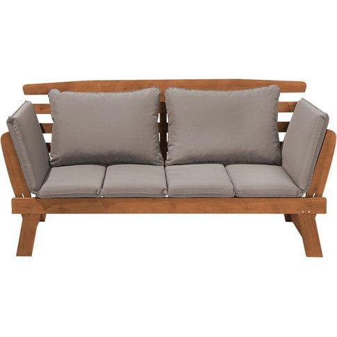 Light Wood Garden Bench Grey Cushions Portici - Beliani