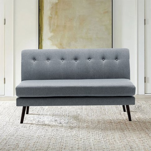 Linen 2-Layer Pad Buttoned 2 Seater Sofa, Grey - Liv...