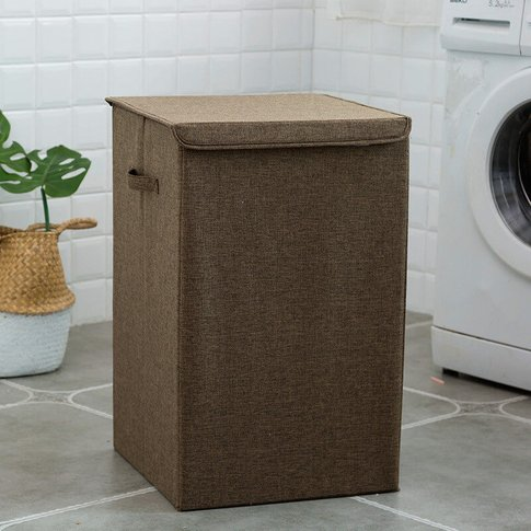 Linen Laundry Basket Hamper Organizer With Lid 50l S...