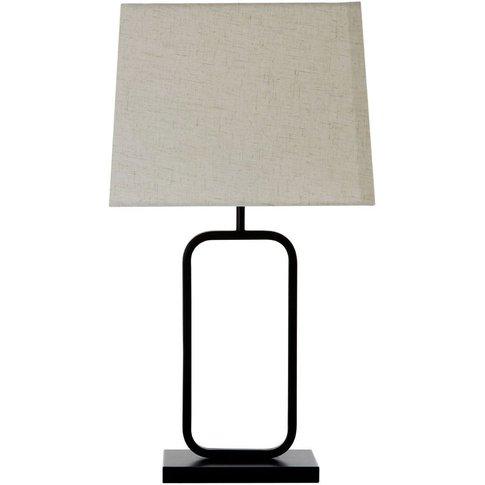 Lucas Table Lamp, Black Metal, Fabric Shade / Uk Plu...