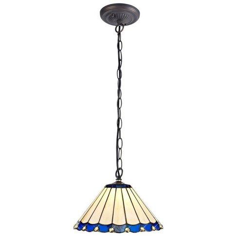 1 Light Downlighter Ceiling Pendant E27 With 30cm Tiffany Shade, Blue, Crystal, Aged Antique Brass - Luminosa Lighting