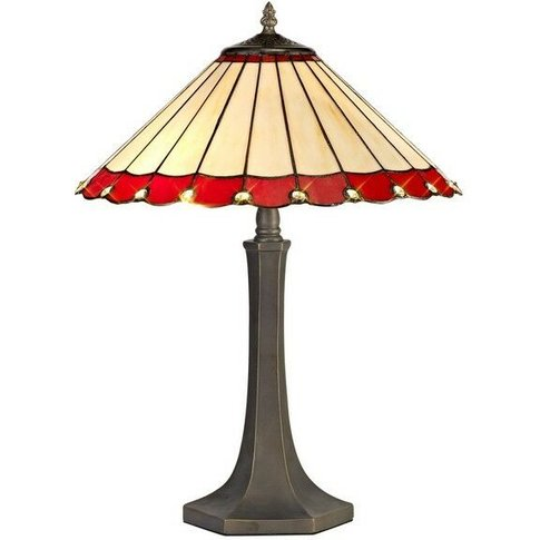 2 Light Octagonal Table Lamp E27 With 40cm Tiffany Shade, Red, Crystal, Aged Antique Brass - Luminosa Lighting