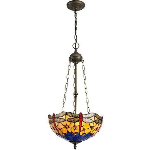 3 Light Uplighter Ceiling Pendant E27 With 40cm Tiff...