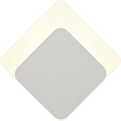 Magnetic Base Wall Lamp, 12w Led 3000k 498lm, 15, 19cm Diamond Bottom Offset, Sand White, Acrylic Frosted Diffuser - Luminosa Lighting