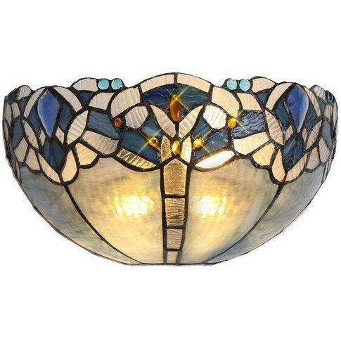 Tiffany 30cm Wall Lamp, 2 X E14, Blue, Clear Crystal - Luminosa Lighting