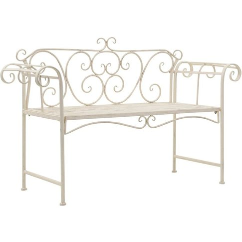 Garden Bench 132 Cm Metal Antique White - Vidaxl