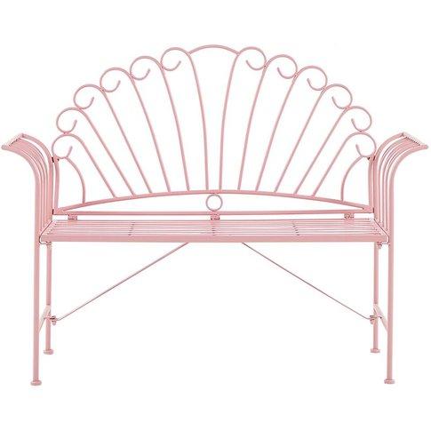 Metal Garden Bench Pink Cavinia - Beliani