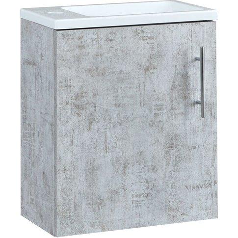 Lurus - Concrete Grey 400mm Compact Wall Hung Bathro...
