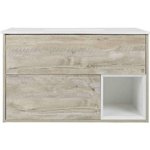 Milano Bexley – Light Oak 1010mm Bathroom Vanity Uni...