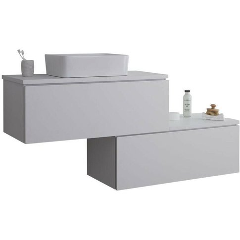Oxley - White 1597mm Wall Hung Stepped Bathroom Vani...