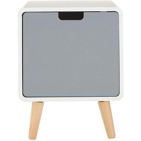 Milo 1 Door Cabinet, White / Grey, Pine Wood Legs - ...