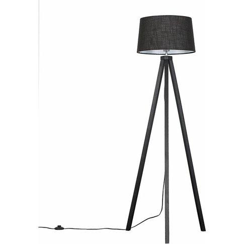 Barbro Black Wood Led Tripod Floor Lamp - Black - Mi...