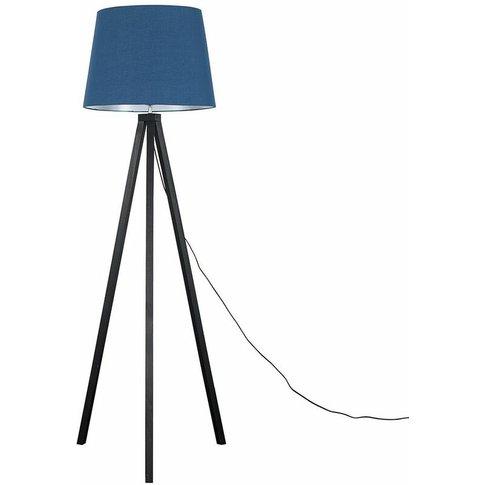 Barbro Black Wood Tripod Floor Lamp - Navy Blue - Mi...