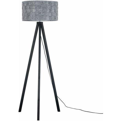 Black Wood Tripod Floor Lamp Grey Felt Weave Light S...