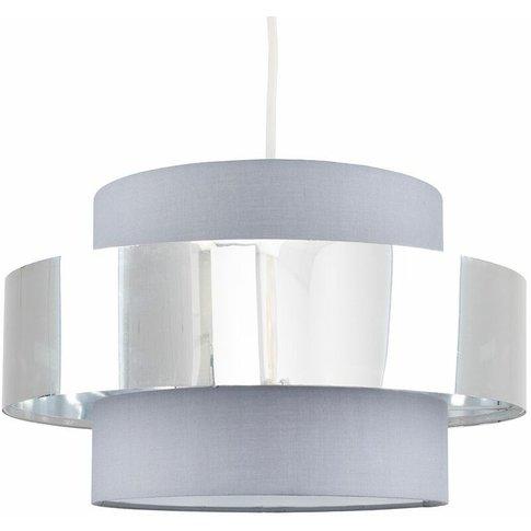 Ceiling Pendant Light Shade In A Grey & Chrome Effec...
