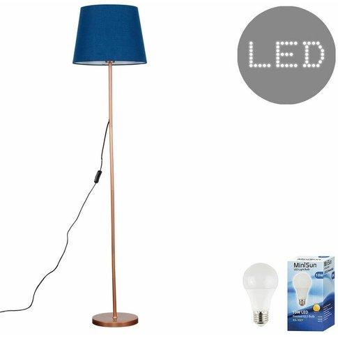 Charlie Copper 150cm Floor Lamp + Led Bulb - Navy Bl...