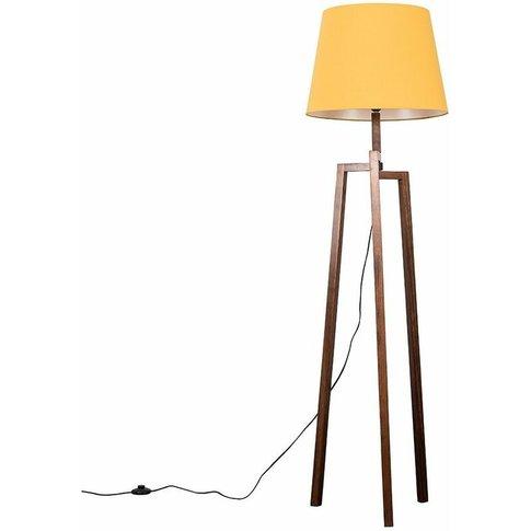 Augustus Dark Wooden Tripod Step Floor Lamp - Mustar...