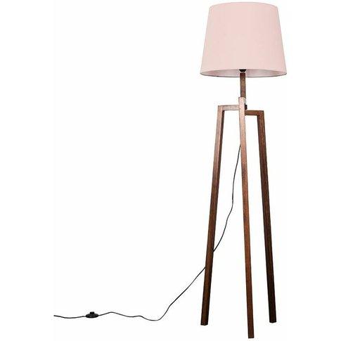 Augustus Dark Wooden Tripod Step Floor Lamp - Pink -...