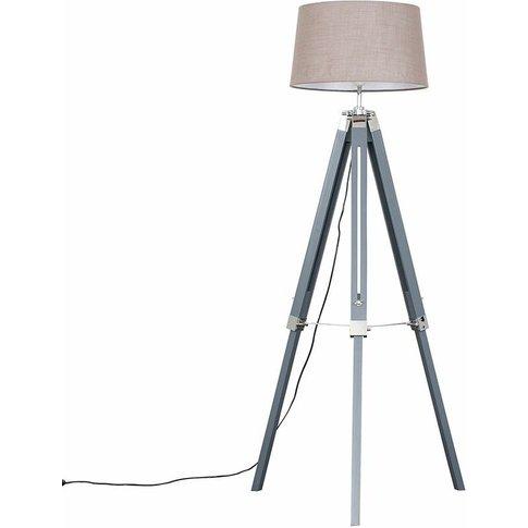 Minisun Grey & Chrome Tripod Floor Lamp - Grey