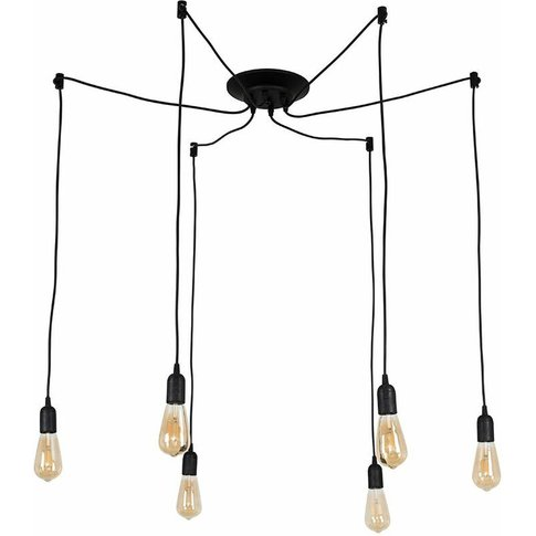 Industrial Style Black 6 Way Ceiling Pendant Light F...