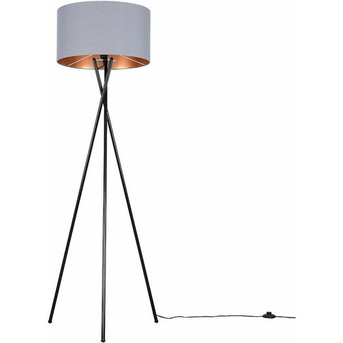 Metal Tripod Floor Lamp - Grey & Copper - Minisun