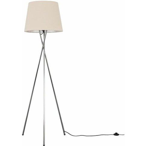 Camden Chrome Tripod Floor Lamp + Led Bulb - Beige -...