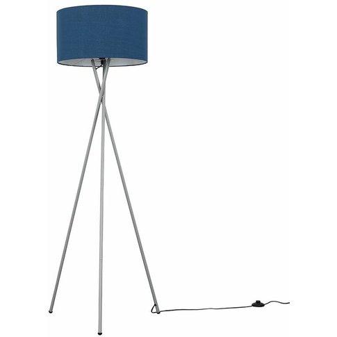 Camden Grey Tripod Floor Lamp + Led Bulb - Navy Blue - Minisun