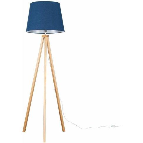 Barbro Light Wood Tripod Floor Lamp + Led Bulb - Nav...