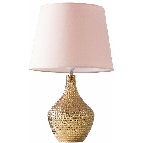 Metallic Gold Indent Textured Ceramic Table Lamp + 4...