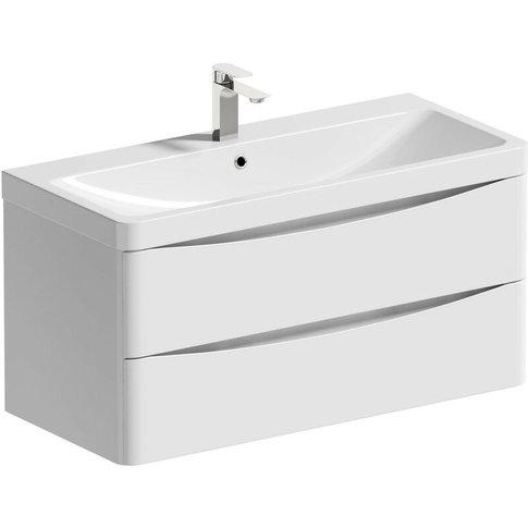 Ashida White Wall Hung Vanity Unit And Basin 1000mm ...