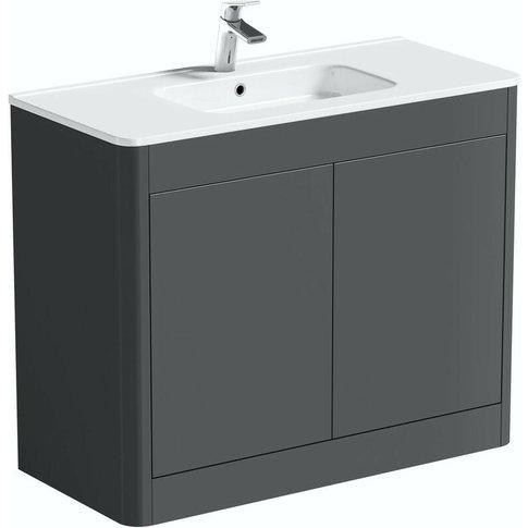Carter Slate Gloss Grey Floorstanding Vanity Unit An...