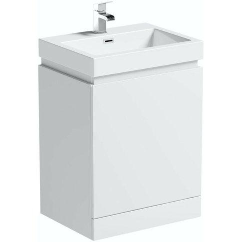 Hardy White Floorstanding Vanity Unit And Basin 600mm - Mode