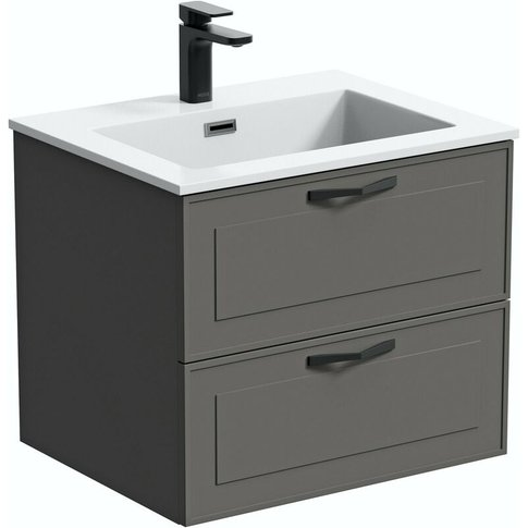 Meier Grey Wall Hung Vanity Unit And Basin 600mm - Mode