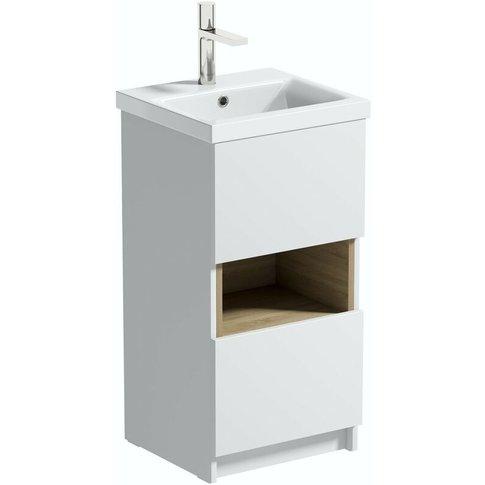 Tate Ii White & Oak Cloakroom Floorstanding Vanity U...