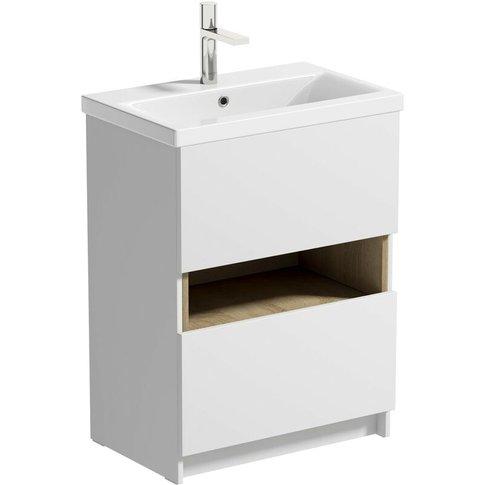 Tate Ii White & Oak Floorstanding Vanity Unit And Ceramic Basin 600mm - Mode