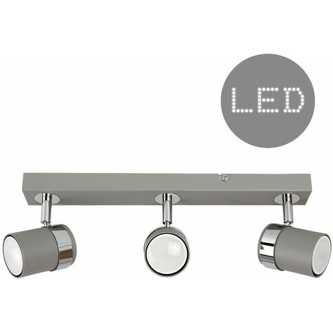 3 Way Cement & Chrome Straight Bar Ceiling Spotlight...