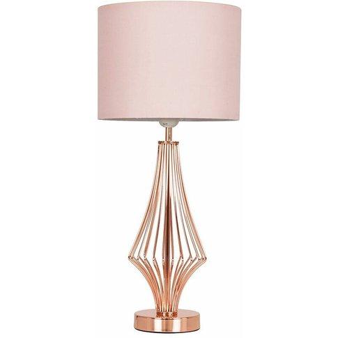 54cm Copper Metal Geometric Diamond Table Lamp + Pin...