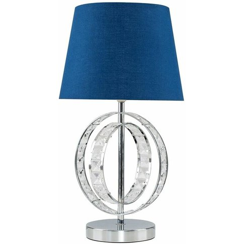 Acrylic Jewel Double Hoop Touch Table Lamp + Dimmable Led Candle Bulb - Navy Blue - Minisun