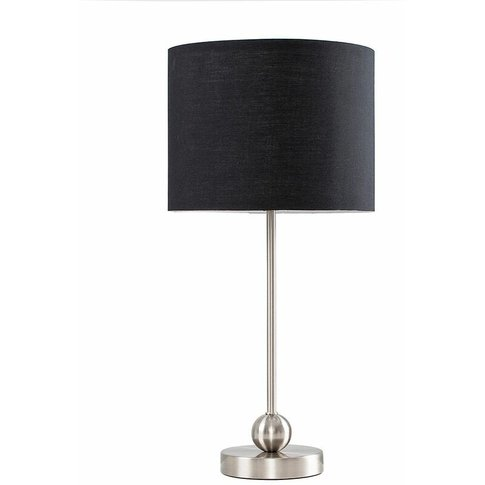 Brushed Chrome Ball Table Lamp + Black Shade + 4w Le...