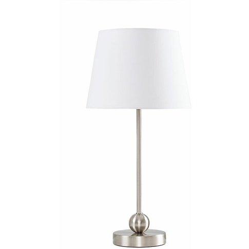 Brushed Chrome Metal Ball Table Lamp + White Shade -...