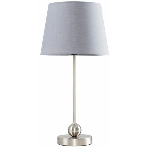 Brushed Chrome Metal Ball Table Lamp + Grey Shade - ...