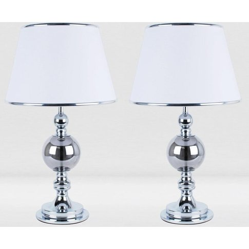 Set Of 2 Chrome And Smoked Glass Table Lamps With Wh...