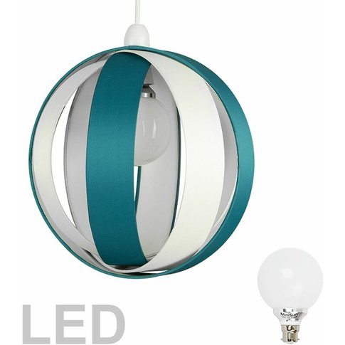J90 Globe Ceiling Pendant Light Shade + 6w Bc B22 Led Globe Bulb - Teal & Cream - Minisun